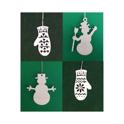 Picture of Wooden Christmas Ornaments - Mix Set-1