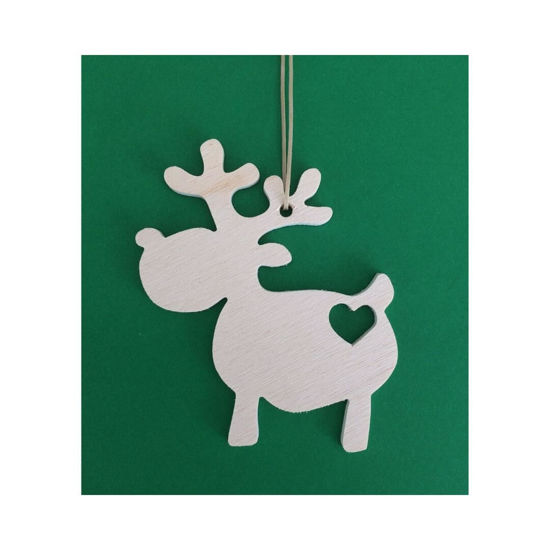 Picture of Wooden Christmas Ornaments - Deer Set