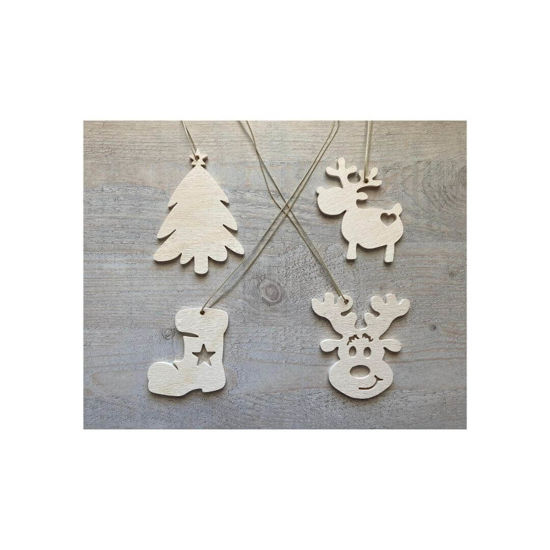 Picture of Wooden Christmas Ornaments - Mix Set-2
