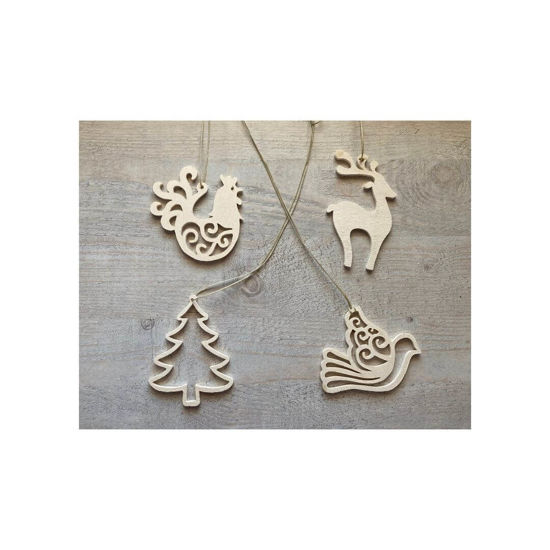 Picture of Wooden Christmas Ornaments - Mix Set-3