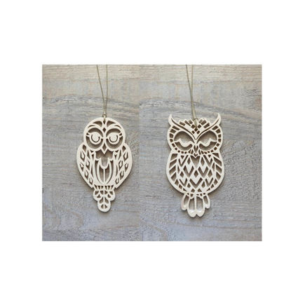 Picture of Wooden Christmas Ornaments - Owl Set-2